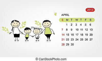 Vector calendar 2013. Family illustration for your design -...