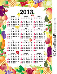 vector calendar 2013 in colorful frame