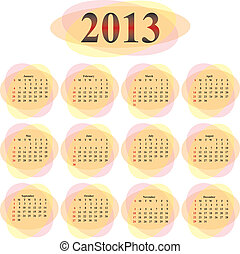 vector calendar 2013 in orange transparent ovals