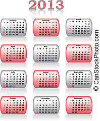 vector calendar 2013 in red and grey color