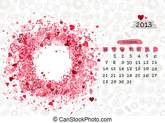 Vector calendar 2013, october. Frame with place for your text or photo