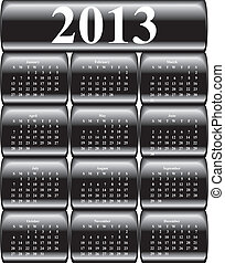 vector calendar 2013 on black glossy, buttons