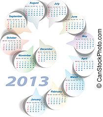 Vector calendar 2013 (week starts on Sunday)