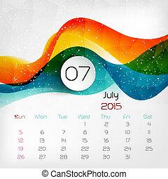 vector, calendar., 2015, july., illustratie