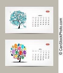 Vector calendar 2015, march and april months. Art tree design