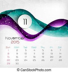 vector, calendar., 2015, november., illustratie