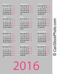 Vector calendar 2016. Week starts from Monday.