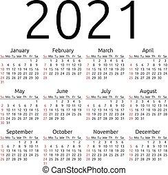 Vector calendar 2021, Sunday - Simple 2021 year calendar,...