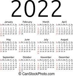 Vector calendar 2022, Sunday - Simple 2022 year calendar,...