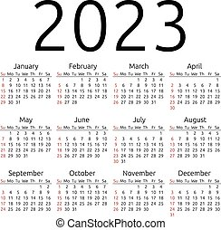 Vector calendar 2023, Sunday - Simple 2023 year calendar,...