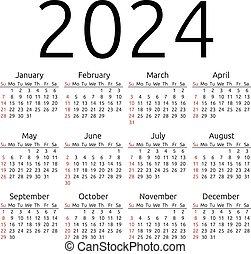 Vector calendar 2024, Sunday - Simple 2024 year calendar,...
