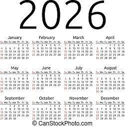 Vector calendar 2026, Sunday