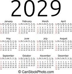 Vector calendar 2029, Sunday