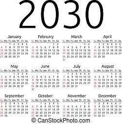 Vector calendar 2030, Sunday