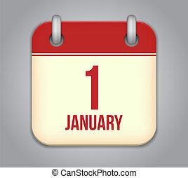 Vector calendar app icon. 1 January