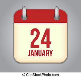 Vector calendar app icon. 24 January