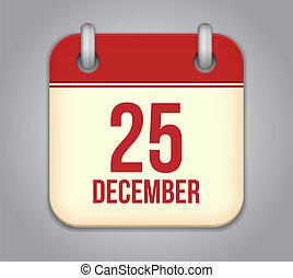 Vector calendar app icon. 25 December
