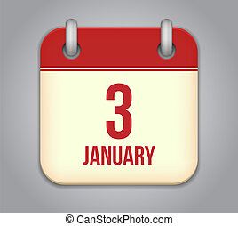 Vector calendar app icon. 3 January