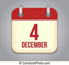 Vector calendar app icon. 4 December