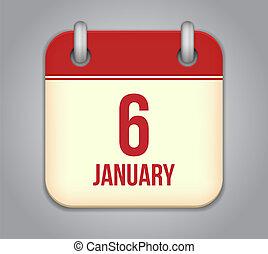 Vector calendar app icon. 6 January
