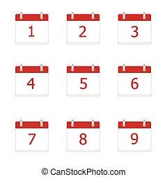 Vector calendar app icons 1 to 9 da