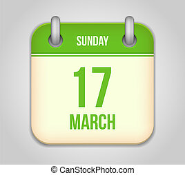 Vector calendar apps icon. 17 march saint Patrick's day