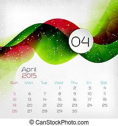vector, calendar., april., 2015, illustratie