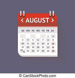 Vector Calendar August Flat Design