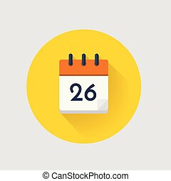 Vector Calendar day 26. - Vector illustration. Calendar day...
