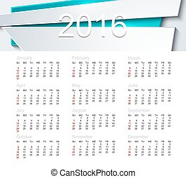 Vector calendar for 2016 year