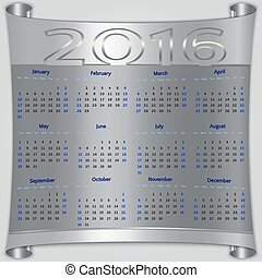 Vector calendar for 2016 year, silver metallic scroll