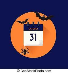 Vector illustration. 31 October calendar for halloween. Flat icon calendar.
