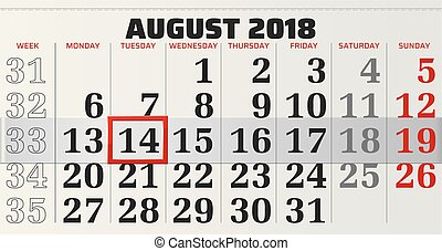 vector calendar of august 2018 with highlighting red frame