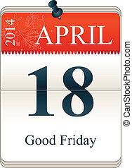 Good Friday - Vector Calendar of Good Friday, 18th Apri,...