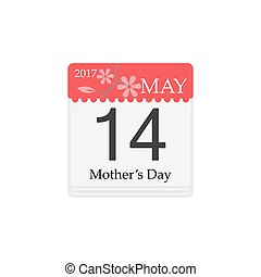 Vector Calendar of Mothers day, 14th May, 2017
