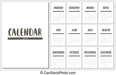2019 multicolored names months calendar lettering set of all