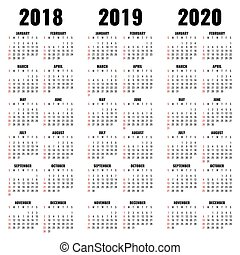 Vector calendar template 2018, 2019 and 2020 years