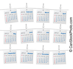 Vector calendar (week starts on Sunday)