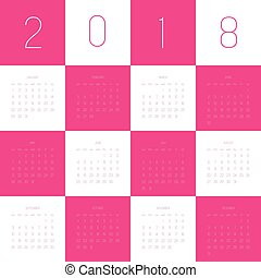 Vector calendar - Year 2018. Week starts from Sunday. Simple...