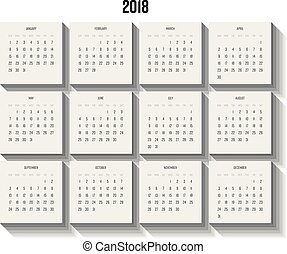 Vector calendar - Year 2018. Week starts from Sunday. Vector...