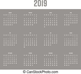 Vector calendar - Year 2019. Week starts from Sunday. Simple...