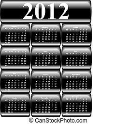 vector, calendario, 2012, en, botones