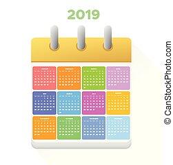 vector, calendario, illustration., 2019.