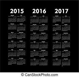 vector calendars 2015 2016 2017 years