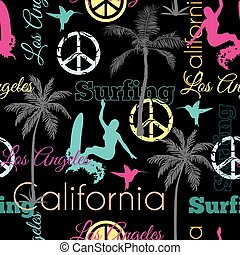 Vector California Colorful On Black Seamless Pattern Surface Design With Surfing Women, Palm Trees, Peace Signs, Surf Boards.