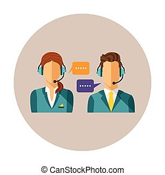 Vector call center concept with man and woman in headset