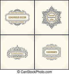Vector Calligraphic Design elements. Vintage Flourishes Retro logo and frames set