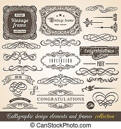 Vector Calligraphic element Border Corner Frame and...