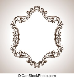 Vector calligraphic engraving frame