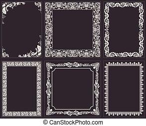 Vector calligraphic frames set. Baroque ornament and vintage bor